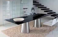 Sklenené stoly, kovové