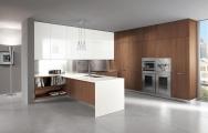 Moderné kuchyne v kombinácii biela farba s dýhou