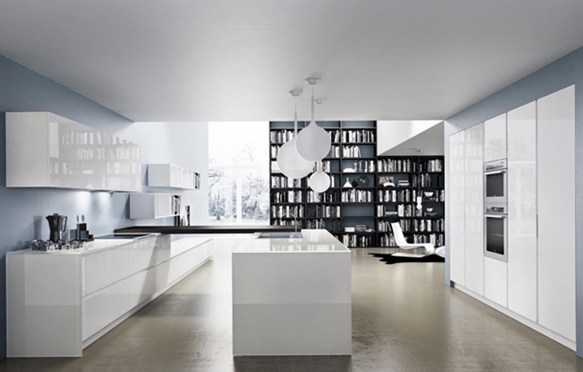 Luxusné kuchyne, biele lesklé