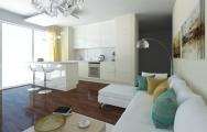 Interiérový dizajn kuchyne s obývačkou