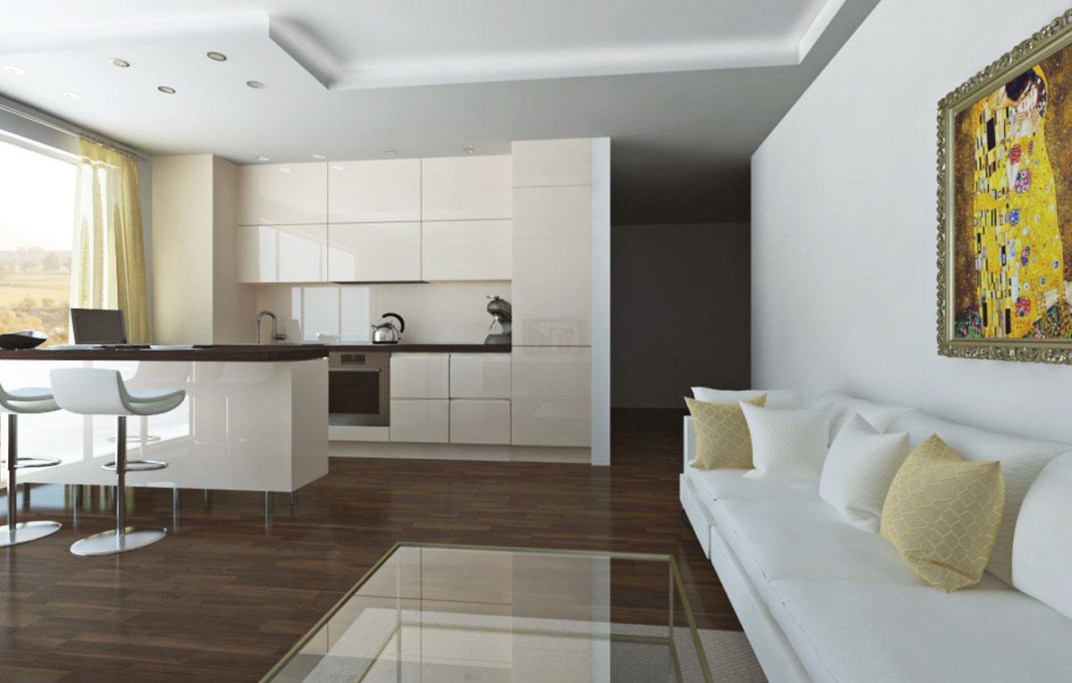 Kuchyne, Kuchyne na mieru, Kuchyne spojené s obývačkou, Kuchyne biele lesklé, s barom, s ostrovčekom