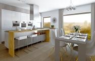 Návrhy kuchyne, 3D vizualizácie. Štýlový a nadčasový interiér, krásne zvolená kombinácia materiálov prírodného dubu a bieleho vysokého lesku.