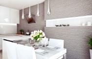 Návrhy kuchyňa s jedálňou zariadenie v bielej farbe