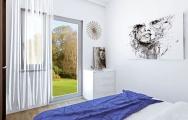 Návrhy interiéru spálne, riešenie úložného priestoru a dizajnu v dvojizbovom byte.