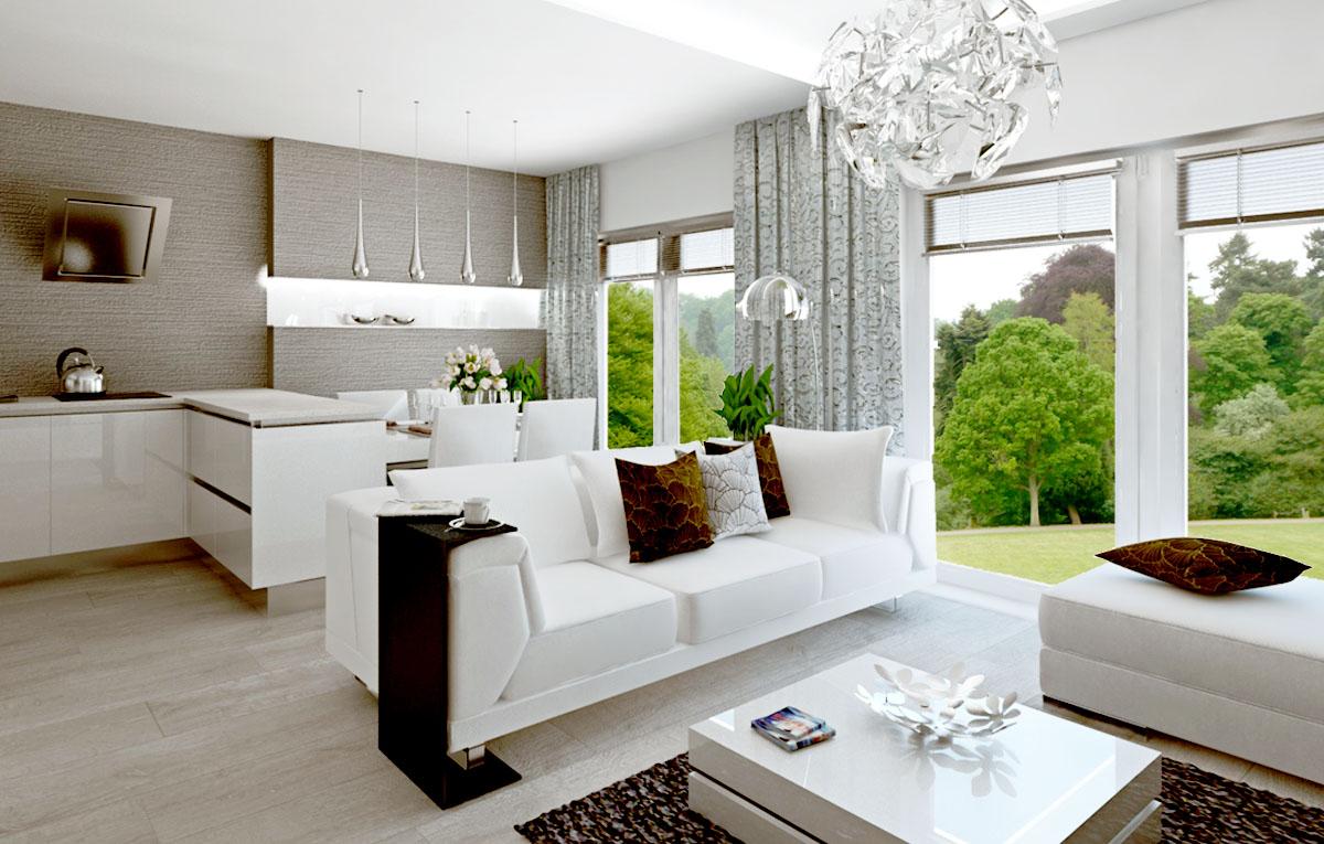 Vizualizácia (návrh) bieleho lesklého  interiéru  trojizbového bytu, výroba nábytku na mieru, interiérový dizajn I PRUNUS štúdio Bratislava