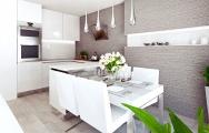 Návrh (vizualizácia) bielej kuchyne s jedálenským stolom, výroba nábytku na mieru, interiérový dizajn I Prunus štúdio Bratislava