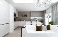 Biela kuchyňa vo vysokom lesku, jedálenský biely stôl a biela kožená  sedačka, výroba nábytku na mieru, interiérový dizajn I PRUNUS štúdio Bratislava