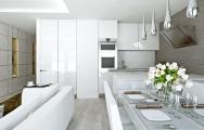 Vizualizácia bielej kuchynskej linky - bezúchytkový systém, interiérový dizajn, výroba nábytku na mieru I PRUNUS štúdio Bratislava