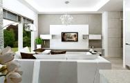 Návrh (vizualizácia) obývacej steny - obývačky, bielej lesklej, výroba nábytku na mieru, interiérový dizajn I PRUNUS štúdio Bratislava