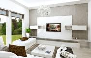 Návrh (vizualizácia) interiéru bielej obývačky, interiérový dizajn, výroba nábytku na mieru I PRUNUS štúdio Bratislava