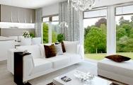Návrh (vizualizácia) interiéru bytu v bielej farbe s bieleným dubom, interiérový dizajn, výroba nábytku na mieru I PRUNUS štúdio Bratislava