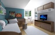 Návrh (vizualizácia) detskej chlapčenskej izby, modro - biela farba, výroba na mieru I PRUNUS štúdio