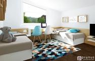 Návrh (vizualizácia) detskej izby pre dve deti, študentská izba pre chlapcov, moderný nábytok na mieru