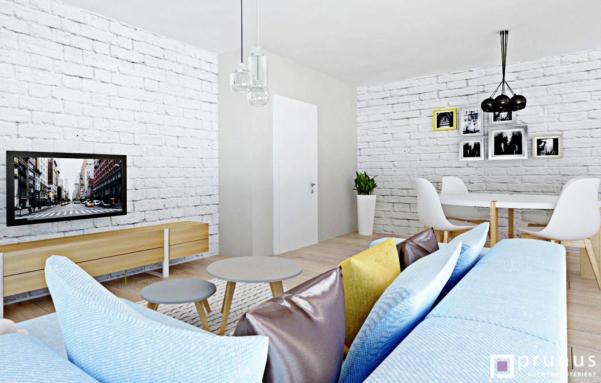 Moderný interiér obývačky, návrh a vizualizácia