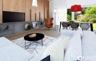 Interiér modernej obývačky s kuchyňou a jedálňou