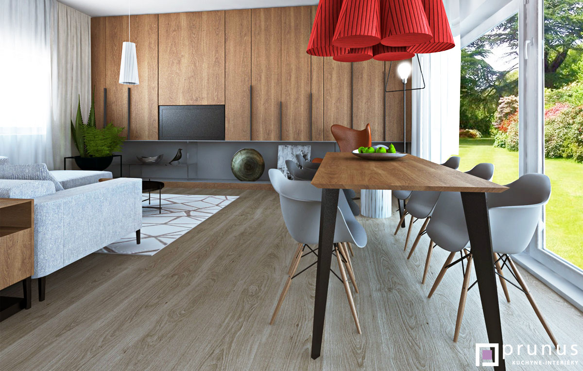 Interiér modernej obývacej izby s jedálenským stolom I PRUNUS