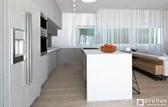 Moderná, dizajnová kuchyńa s americkou chladničkou.