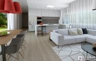 Moderný interiér obývačky s kuchyňou a jedálňou