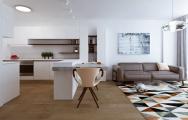 Kuchyňa do tvaru U spolu s obývačkou