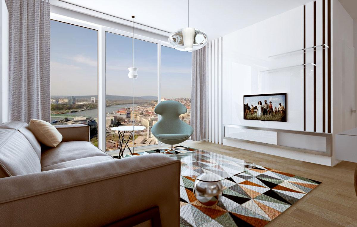 Kuchyňa s obývačkou Panorama City, návrh (vizualizácia) moderného interiéru