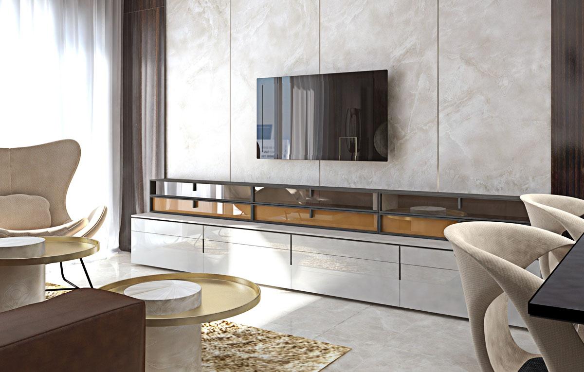 Interiérový dizajn luxusnej obývačky