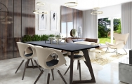 Jedálenský stôl s keramikou, drevené nohy