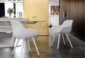 Moderné jedálenské kreslo  biele čalúnené kožené textilné, biele drevo