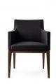 Štýlová stolička do jedálne, čierna čalúnená, drevená