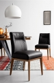 Moderné kožené jedálenské stoličky čierne