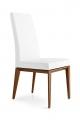 Luxusné jedálenské stoličky biele, nohy drevené