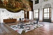 Luxusné jedálenské stoličky kovové set so stolom