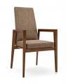 Moderná jedálenská stolička kávová s drevenými opierkami