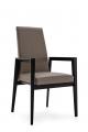 Jedálenská stolička šedá s opierkami, drevená