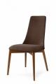 Moderná jedálenská čalúnená stolička hnedá, drevo orech