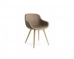 Moderné dizajnové kožené kreslo za stôl, dubové nohy