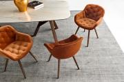 Luxusné dizajnové  kreslo do jedálne zamatové, drevené