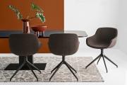 Dizajnové moderné jedálenské kreslo  čalúnené kožené textilné, kovové