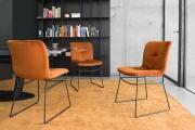 Jedálenská stolička látková zamatová, kovové nohy