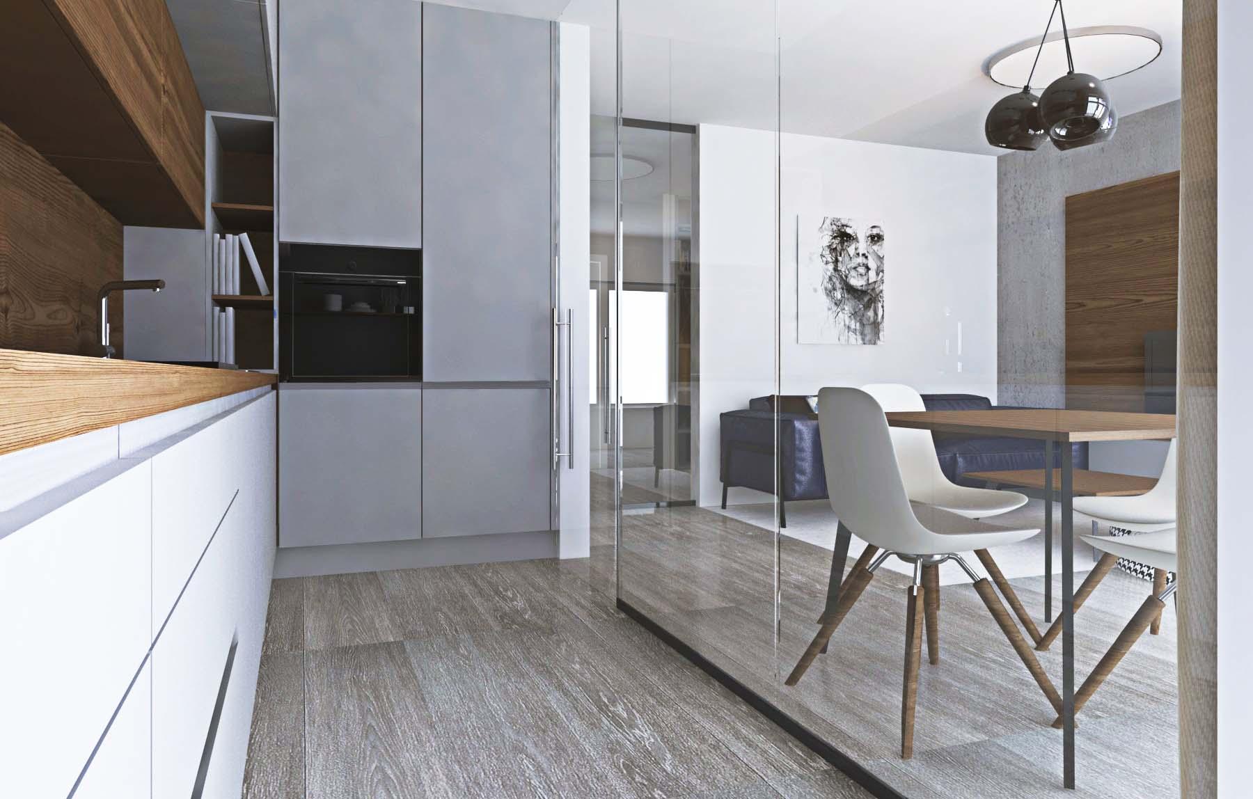 Návrh modernej kuchyne s obývačkou a sklenenými dverami I PRUNUS štúdio