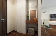 Dizajnový , elegantný interiér vstupnej haly apartmánu v Panorama City