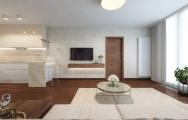 Dizajnový interiér obývačky apartmánu v Panorama City