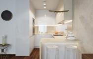 Dizajnový interiér kuchyne apartmánu v Panorama City