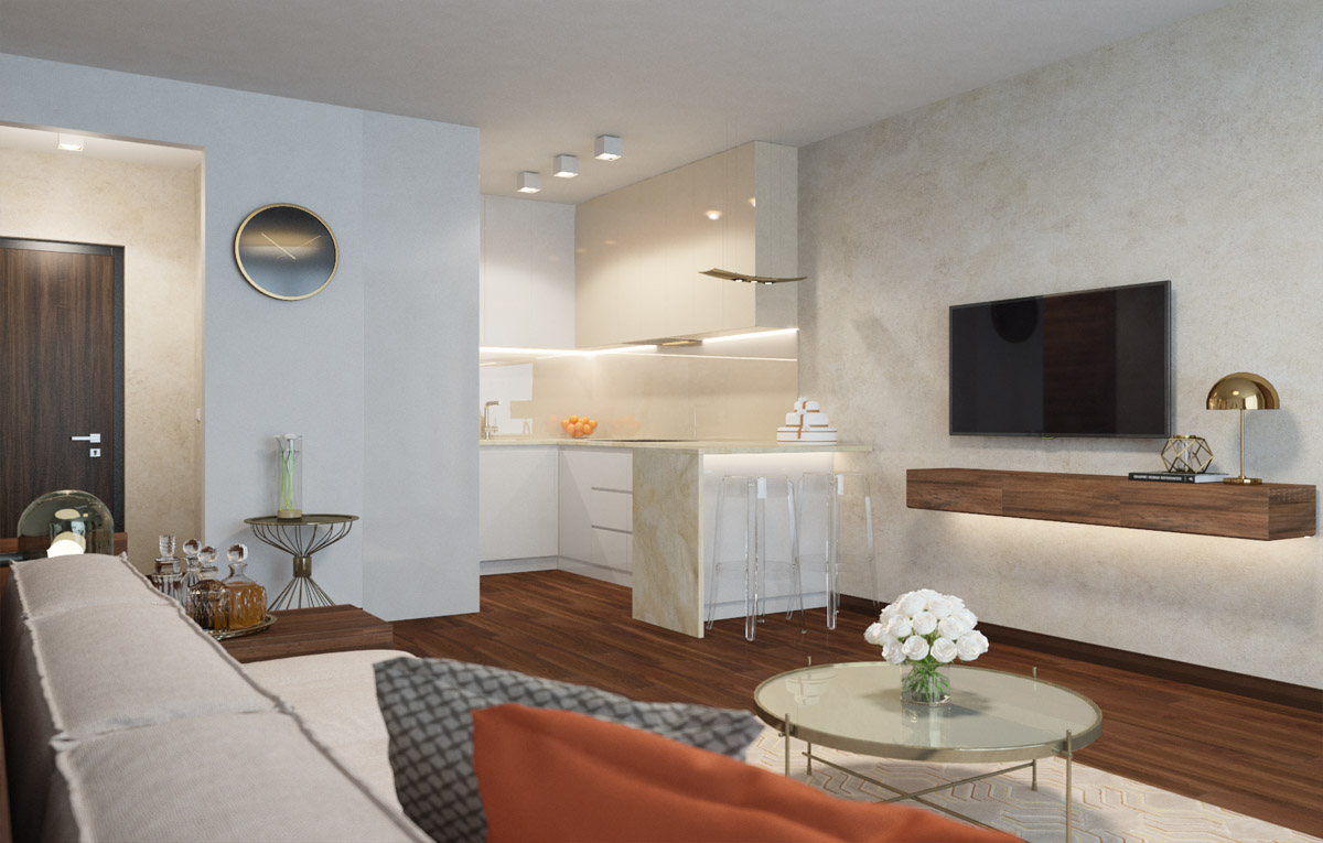 Elegantný, eklektický interiér bytu v Panorama City | PRUNUS STUDIO