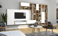 Moderný severský interiérový dizajn  obývačkovej steny
