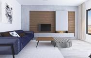 Moderný dizajn minimalistickej obývačky